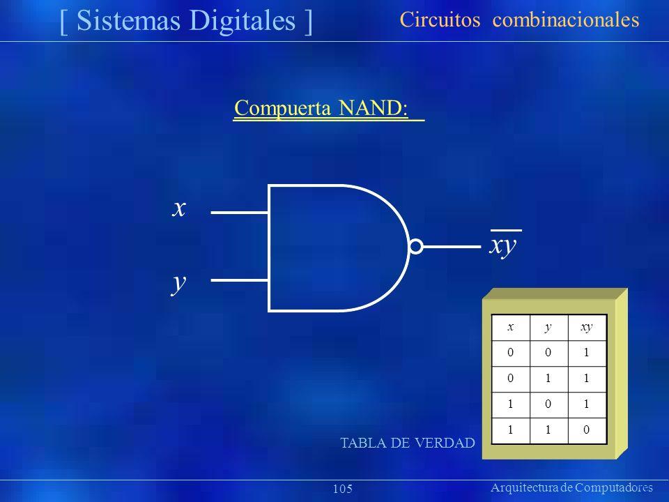 [ Sistemas Digitales ] x y Circuitos combinacionales Compuerta NAND: